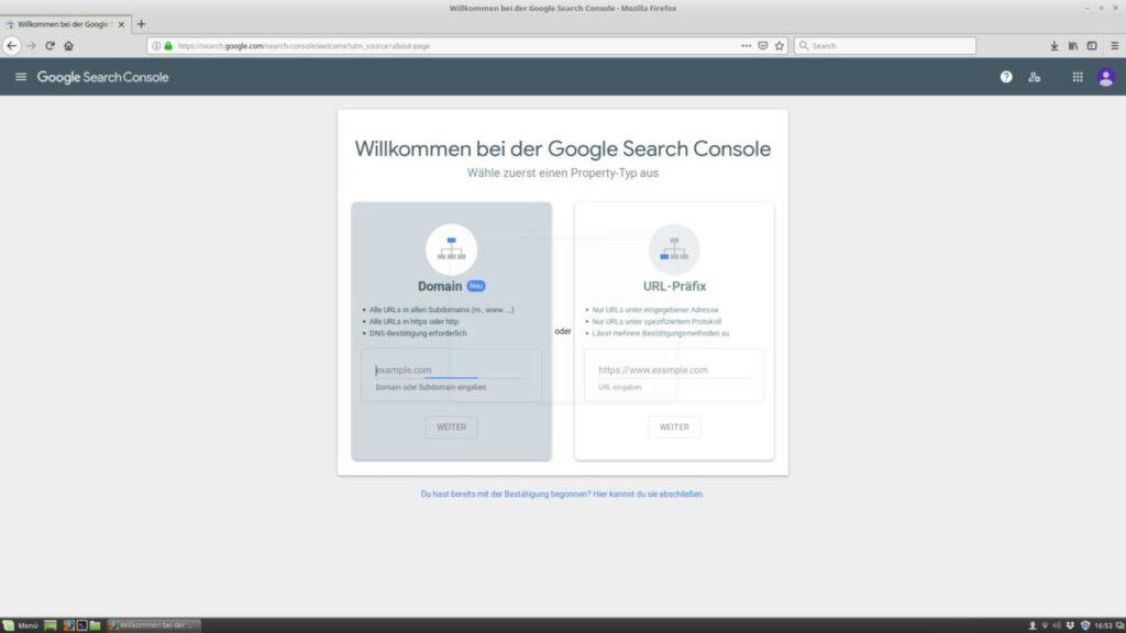 Search Console Anmeldeoptionen